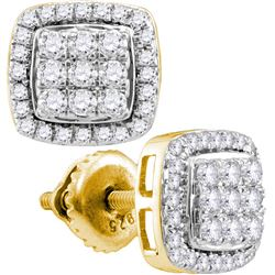 Womens Round Diamond Square Earrings 1 Cttw 10kt Yellow Gold - REF-52Y9N