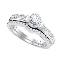 Round Diamond Bridal Wedding Ring Band Set 1/2 Cttw 10kt White Gold - REF-36F5W
