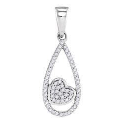 Womens Round Diamond Teardrop Heart Pendant 1/8 Cttw 10kt White Gold - REF-10N5F