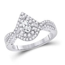 Pear Diamond Halo Bridal Wedding Engagement Ring 1 Cttw 14kt White Gold - REF-104Y9N