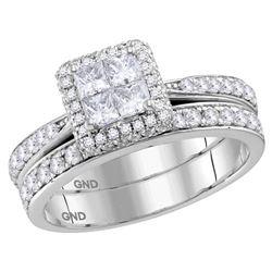 Princess Diamond Bridal Wedding Ring Band Set 1 Cttw 14kt White Gold - REF-69N9F