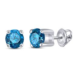 Womens Round Blue Color Enhanced Diamond Solitaire Stud Earrings 1/4 Cttw 10kt White Gold - REF-12W9