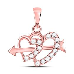 Womens Round Diamond Arrow Heart Pendant 1/5 Cttw 10kt Rose Gold - REF-14K9Y