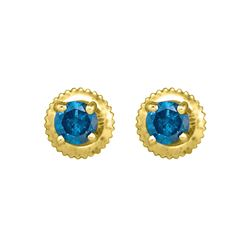 Womens Round Blue Color Enhanced Diamond Solitaire Earrings 1/2 Cttw 10kt Yellow Gold - REF-21K5Y