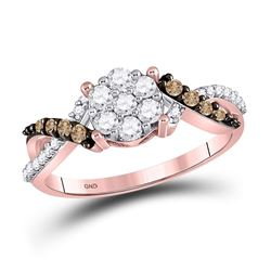 Womens Round Brown Diamond Cluster Ring 1/2 Cttw 10kt Rose Gold - REF-30M9H