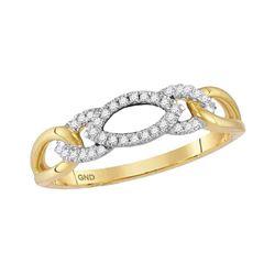 Womens Round Diamond Fashion Band Ring 1/8 Cttw 10kt Yellow Gold - REF-12F9W