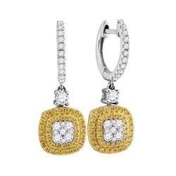 Womens Round Yellow Diamond Square Cluster Dangle Earrings 7/8 Cttw 18kt White Gold - REF-104Y9N