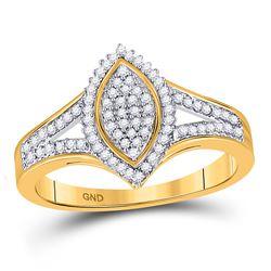 Womens Round Diamond Cluster Ring 1/5 Cttw 10kt Yellow Gold - REF-21W5K