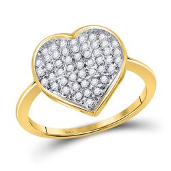 Womens Round Diamond Heart Ring 1/6 Cttw 10kt Yellow Gold - REF-14W5K