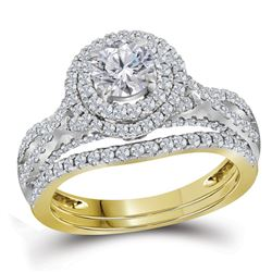 Round Diamond Halo Bridal Wedding Ring Band Set 1-3/4 Cttw 14kt Yellow Gold - REF-272F9W