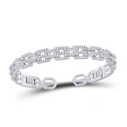 Womens Baguette Diamond Bangle Bracelet 2-1/2 Cttw 14kt White Gold - REF-241Y5N