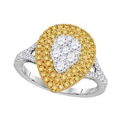 Womens Round Yellow Diamond Teardrop Cluster Ring 1 Cttw 18kt White Gold - REF-131F5W