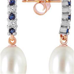 Genuine 8.3 ctw Sapphire, Pearl & Diamond Earrings 14KT Rose Gold - REF-28W8Y
