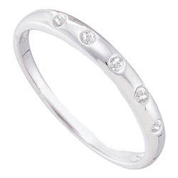 Womens Round Diamond 5-Stone Bezel Band Ring 1/20 Cttw 14kt White Gold - REF-13W9K