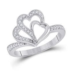 Womens Round Diamond Heart Ring 1/5 Cttw 10kt White Gold - REF-27A9M