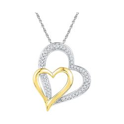 Womens Round Diamond Two-tone Double Heart Pendant 1/8 Cttw 10kt White Gold - REF-10A5M