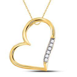Womens Round Diamond Heart Pendant 1/20 Cttw 10kt Yellow Gold - REF-6R5X