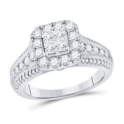 Princess Diamond Halo Bridal Wedding Engagement Ring 1-1/3 Cttw 14kt White Gold - REF-106H9R