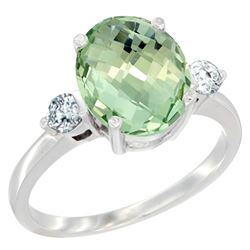 2.60 CTW Amethyst & Diamond Ring 10K White Gold - REF-62W2F