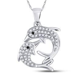 Womens Round Black Color Enhanced Diamond Dolphin Pendant 1/6 Cttw 10kt White Gold - REF-10N5F