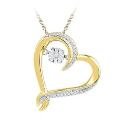 Womens Moving Twinkle Round Diamond Heart Pendant 1/20 Cttw 10kt Yellow Gold - REF-16W9K
