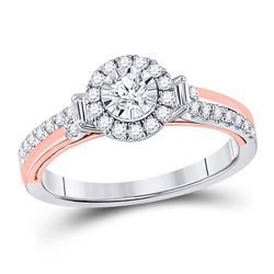 Round Diamond Halo Bridal Wedding Engagement Ring 1/2 Cttw 10kt Two-tone Gold - REF-44A9M