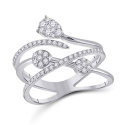 Womens Round Diamond Abstract Fashion Ring 1/2 Cttw 14kt White Gold - REF-49F9W