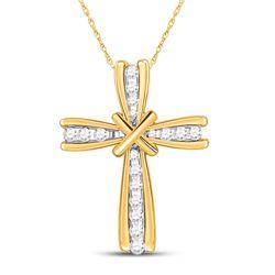 Womens Round Diamond Cross Pendant 1/6 Cttw 10kt Yellow Gold - REF-10X5A