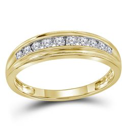 Womens Round Diamond Single Row Band Ring 1/4 Cttw 10kt Yellow Gold - REF-18Y9N