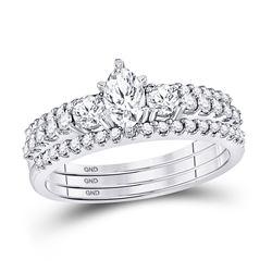 Marquise Diamond 3-Piece Bridal Wedding Ring Band Set 1 Cttw 14kt White Gold - REF-123K5Y