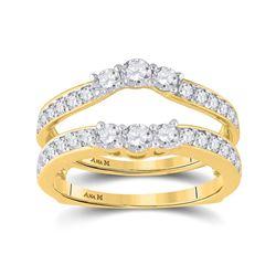 Womens Round Diamond Wedding Wrap Ring Guard Enhancer 1 Cttw 14kt Yellow Gold - REF-80H9R