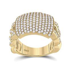 Mens Round Diamond Statement Fashion Ring 2 Cttw 10kt Yellow Gold - REF-120M5H