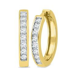 Womens Round Diamond Hoop Earrings 1/2 Cttw 10kt Yellow Gold - REF-36X9A