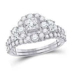 Princess Diamond Bridal Wedding Ring Band Set 2 Cttw 14kt Two-tone Gold - REF-178F5W