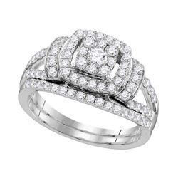 Diamond Framed Cluster Bridal Wedding Ring Band Set 1 Cttw 14kt White Gold - REF-82F5W