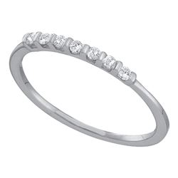 Womens Round Diamond Single Row Band Ring 1/10 Cttw 14kt White Gold - REF-10K5Y