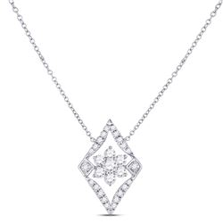 Womens Round Diamond Geometric Cluster Necklace 1/3 Cttw 14kt White Gold - REF-32N5F