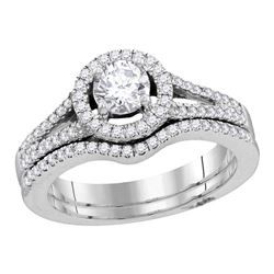 Round Diamond Bridal Wedding Ring Band Set 1 Cttw 14kt White Gold - REF-148M9H