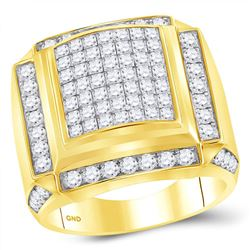 Mens Princess Diamond Square Cluster Ring 2-7/8 Cttw 10kt Yellow Gold - REF-175N5F
