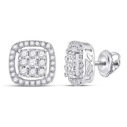 Womens Round Diamond Square Frame Cluster Earrings 1/2 Cttw 10kt White Gold - REF-26Y9N