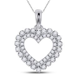 Womens Round Diamond Outline Heart Pendant 3/8 Cttw 14kt White Gold - REF-27A9M