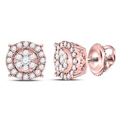 Womens Round Diamond Halo Cluster Earrings 1/4 Cttw 14kt Rose Gold - REF-25A9M