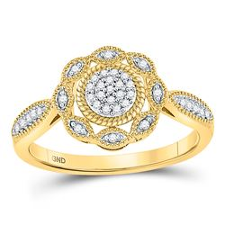 Womens Round Diamond Milgrain Cable Cluster Ring 1/8 Cttw 10kt Yellow Gold - REF-16F5W