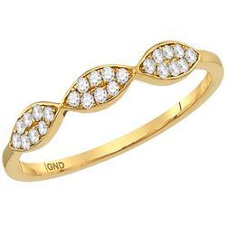Womens Round Diamond Oval Stackable Band Ring 1/8 Cttw 14kt Yellow Gold - REF-15M5H