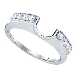 Womens Round Diamond Ring Guard Wrap Solitaire Enhancer 1/4 Cttw 14kt White Gold - REF-26F5W