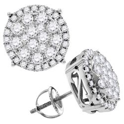 Womens Round Diamond Concentric Circle Cluster Stud Earrings 2 Cttw 14kt White Gold - REF-129Y9N
