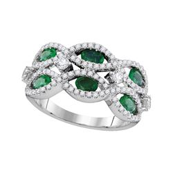 Womens Oval Emerald Diamond Fashion Ring 1-7/8 Cttw 18kt White Gold - REF-131W5K