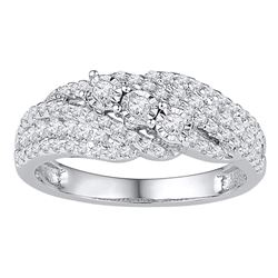 Womens Round Diamond 3-stone Band Ring 1/2 Cttw 10kt White Gold - REF-30W5K