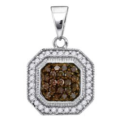 Womens Round Brown Diamond Octagon Cluster Pendant 1/3 Cttw 10kt White Gold - REF-13R9X