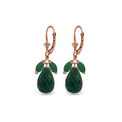 Genuine 18.6 ctw Emerald & Green Sapphire Corundum Earrings 14KT Rose Gold - REF-49R3P